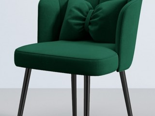 Green Scallop Chair with Black Metal